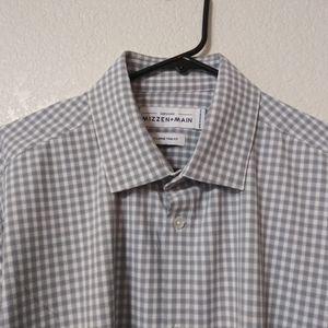 Mizzen+Main Trim Fit XL Dress Shirt Gray